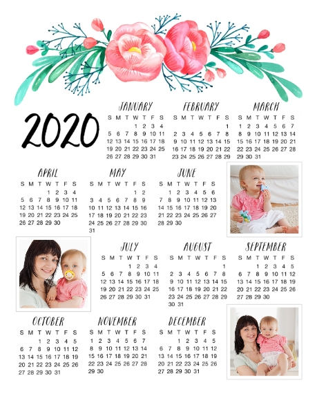 Calendar 8x10 Wood Panel, Home Décor -Floral