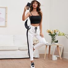 Cami Top With Lace Up Contrast Panel Pants