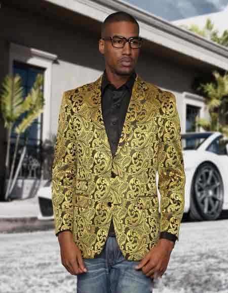 Gold Sequin Paisley Colorful Fashion Sport Coat Blazer Jacket