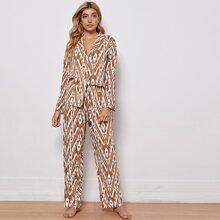 Sets Pijama Boton delantero todo estampado Casual