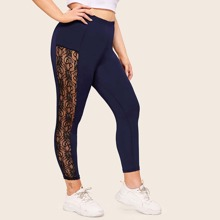 Plus Side Lace Panel High Waist Leggings