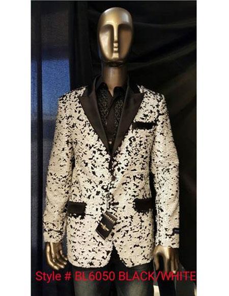 Mens Black ~ White Sequin Paisley Blazer Sport coat Tuxedo Jacket