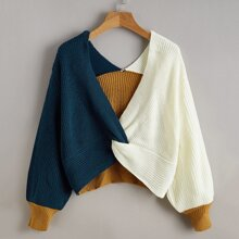 Twist Front Colorblock Sweater