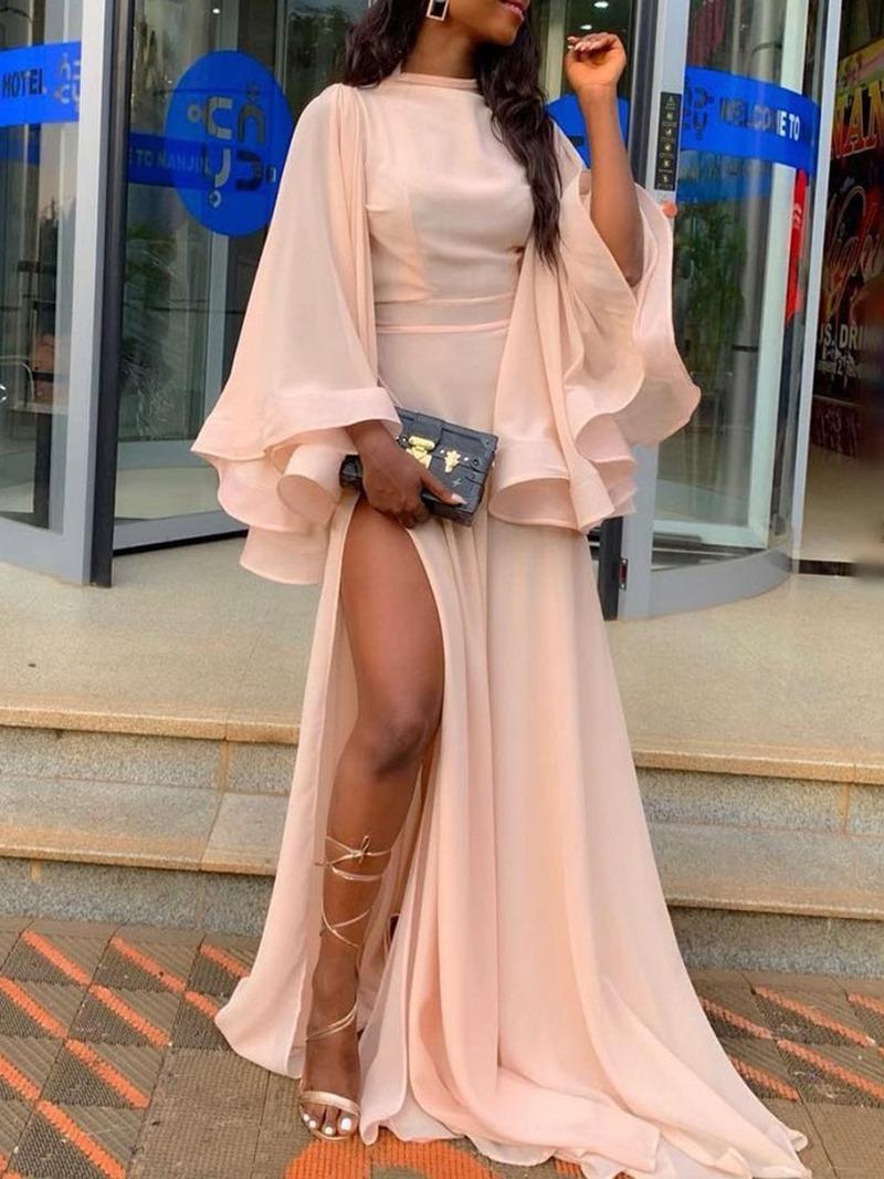 Ericdress Mesh Floor-Length Split Plain Flare Sleeve Dress