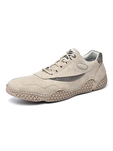 Milanoo Zapatillas para hombre Zapatos de hombre de punta redonda gris bordados de malla de cuero de PU
