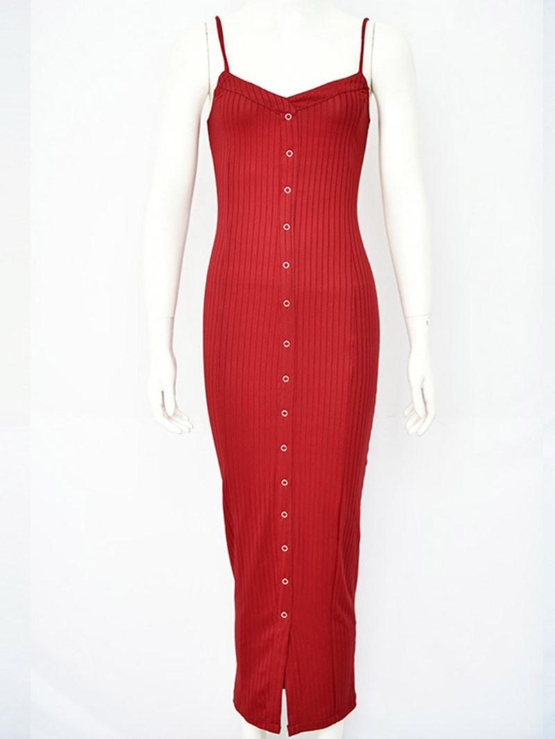 Ericdress Mid-Calf Sleeveless Backless Plain Pencil Dress