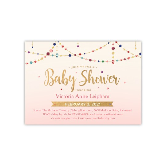 20 Pack of Gartner Studios® Personalized Swag Flat Baby Shower Invite in Blush | 5