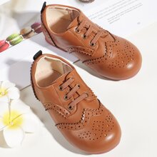 Toddler Girls Lace-up Decor Hollow Out Flats