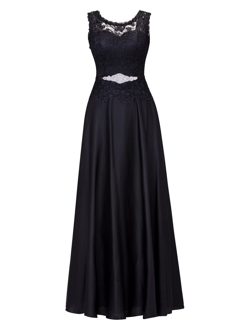 Ericdress Scoop Neck Lace-Up Ankle-Length Lace Evening Dress