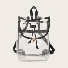 Clear Drawstring Flap Backpack