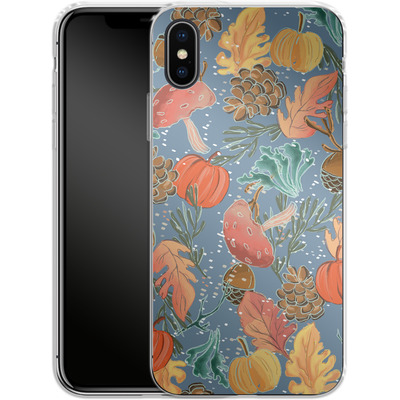 Apple iPhone X Silikon Handyhuelle - Fall Woodland Blue von Mukta Lata Barua