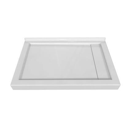 SBLDTT-4832-RD-WHT Tripple Threshold White Acrylic Right Linear Drain Shower Base