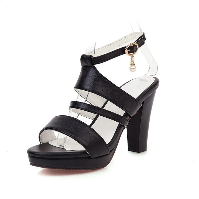 Ericdress Toe Line-Style Buckle Chunky Heel Sandals