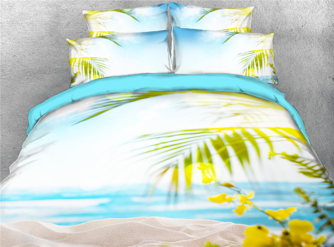 Seabeach in Blue Sky Printed 4-Piece 3D Bedding Sets Duvet Covers Colorfast Wear-resistant Endurable Skin-friendly All-Season Ultra-soft Microfiber No