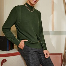 Men Stand Collar Solid Sweater