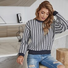 Pullover mit Hahnentritt Muster und sehr tief angesetzter Schulterpartie