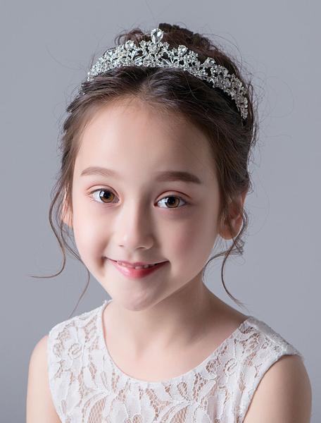 Milanoo Flower Girl Hair Accessories Tiara Silver Kids Rhinestones Beaded Little Girl Headpieces