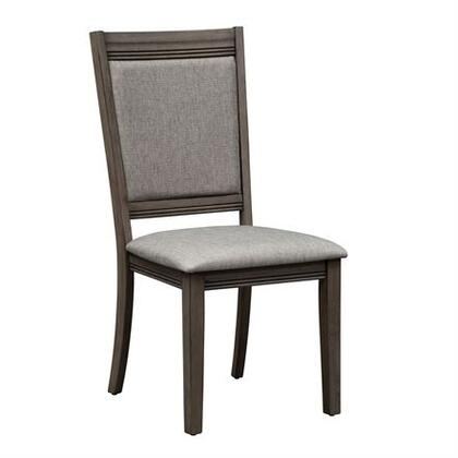 Tanners Creek Collection 686-C6501S Side Chair with Bracket Feet  Upholstered in Gray Tweed and Tapered Legs in Greystone