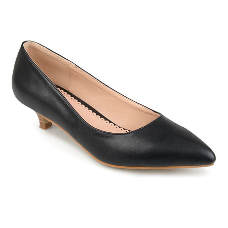 Journee Collection Womens Bohme Pumps Pointed Toe Kitten Heel, 7 1/2 Medium, Black