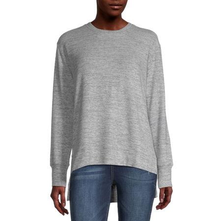 Arizona-Juniors Womens Crew Neck Long Sleeve Tunic Top, Medium , Gray