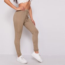 Drawstring Waist Cable Knit Skinny Pants