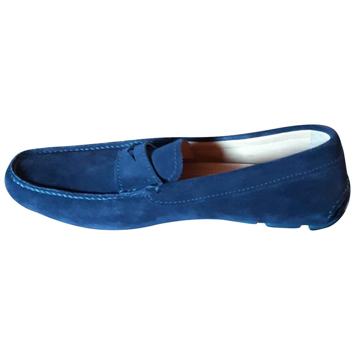 Prada - Mocassins   pour homme en cuir - bleu