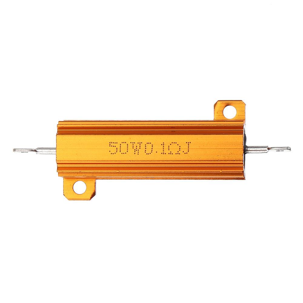RX24 50W 0.1R 0.1RJ Metal Aluminum Case High Power Resistor Golden Metal Shell Case Heatsink Resistance Resistor