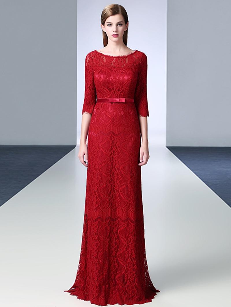 Ericdress Elegant Half Sleeve Floor Length Long Lace Evening Dress