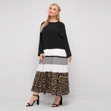 Vestidos Tallas Grandes Boton Leopardo Sencillo
