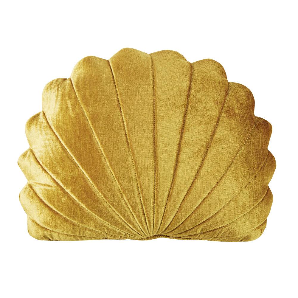 Goldfarbenes Kissen in Muschelform 30x40