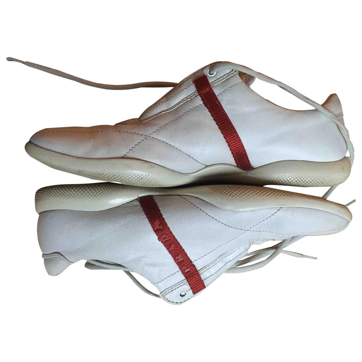 Prada \N White Leather Trainers for Women 37 EU