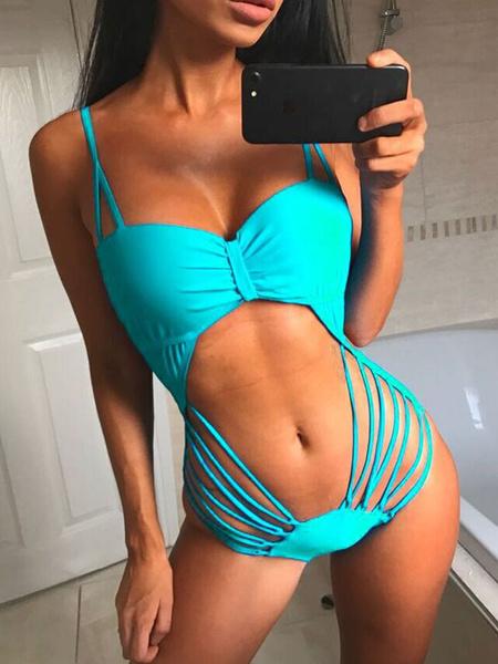 Milanoo Monokini Bathing Suit Woomens Spaghetti Strap Cut Out Backless Sexy Beach Swimwear