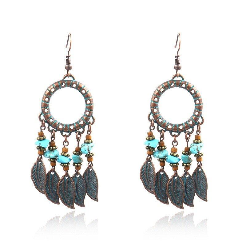 Bohemian Blue Stone Earrings Multi-layer Leaf Earrings Retro Tassels Women Earrings