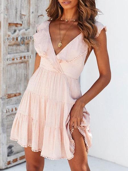 Milanoo Summer Dresses Ruffles Backless Women Sundress