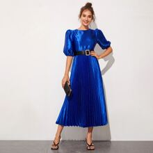 Puff Sleeve Pleated Satin Dress With Belt