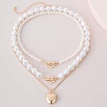 3pcs Faux Pearl Heart Decor Necklace