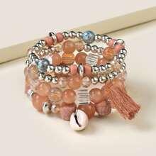 4pcs Shell Detail Beaded Bracelet
