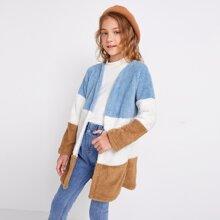 Girls Open Front Colorblock Teddy Coat