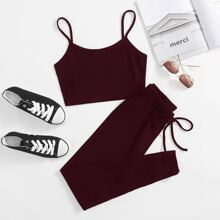 Solid Cami Top & Knot Front Legging Set