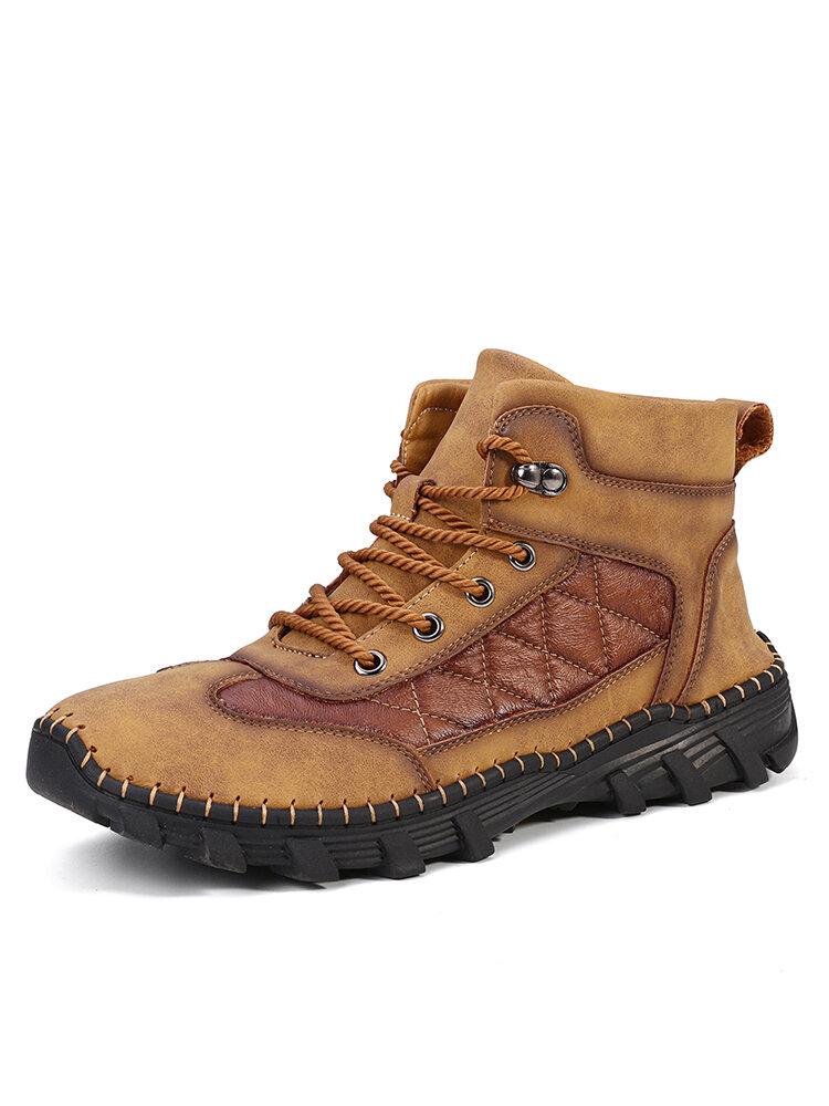 Men Comfy Microfiber Leather Slip Resistant Soft Ankle Boots
