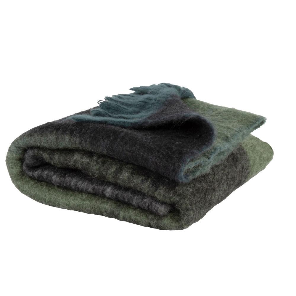 Fransenplaid, gruen, blau, grau und schwarz 130x170