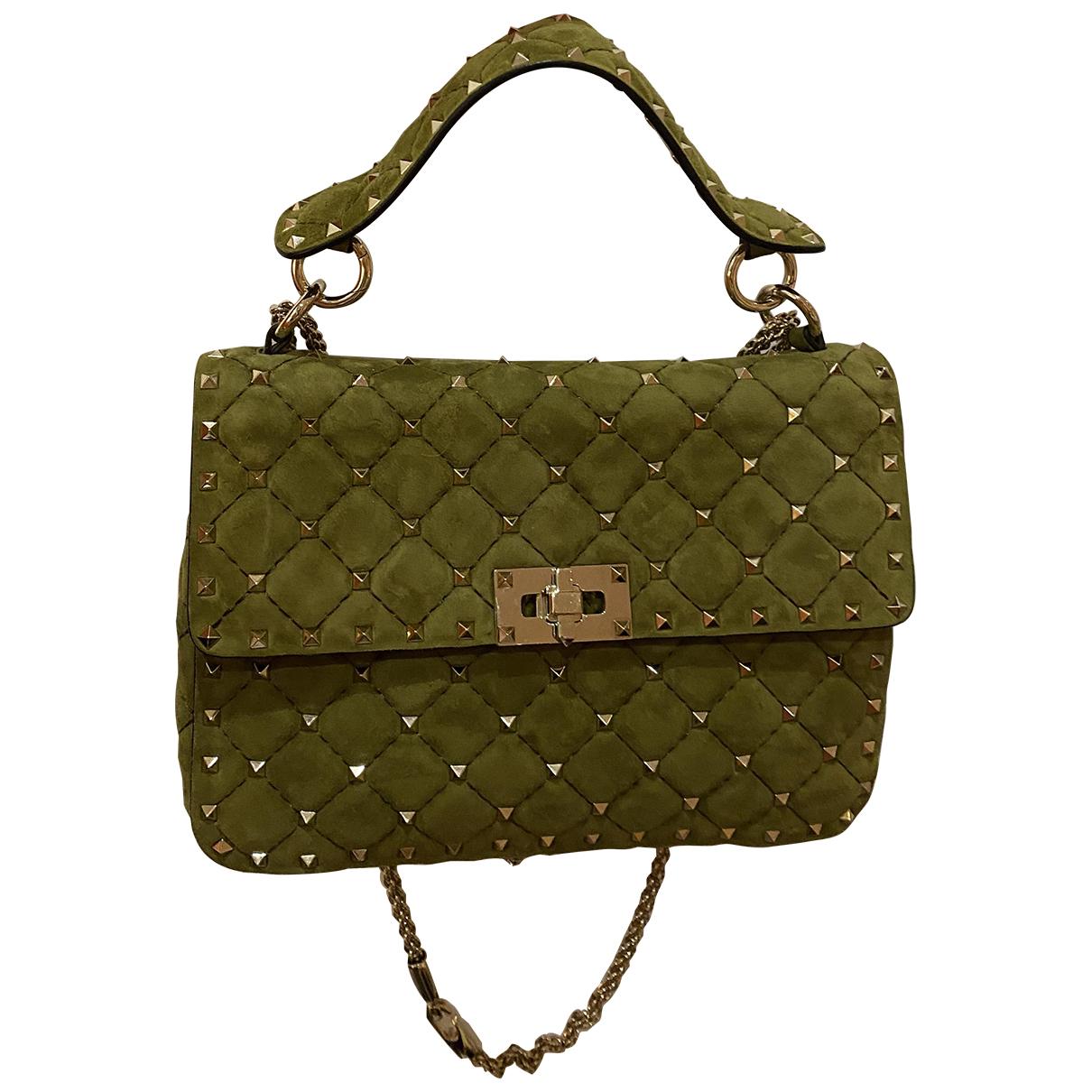 Valentino Garavani Rockstud spike Handtasche in  Khaki Leder