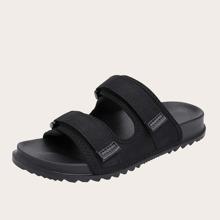 Men Velcro Strap Decor Slides