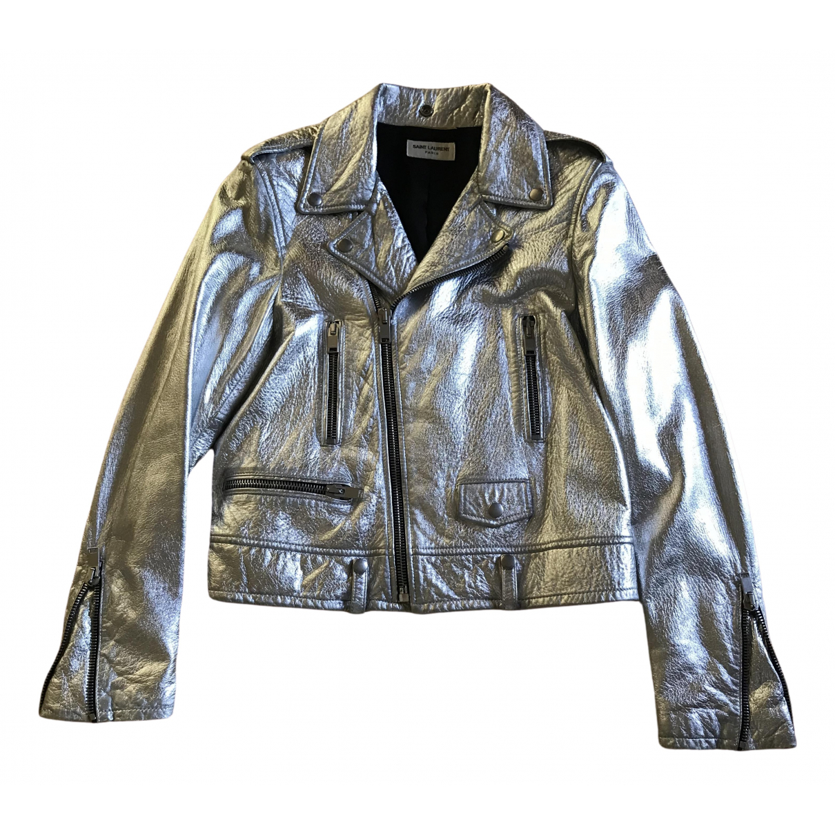 Saint Laurent \N Silver Leather jacket for Women 40 FR