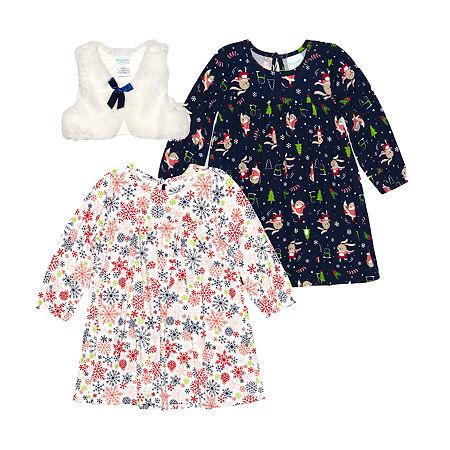 Nannette Baby Girls Long Sleeve Dress Set, 12 Months , Beige