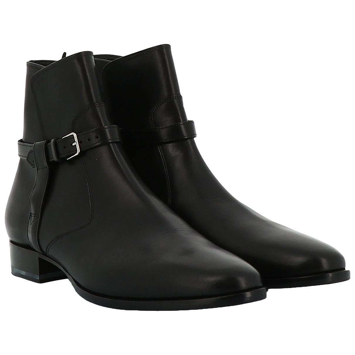 Saint Laurent N Black Leather Boots for Men 41 EU