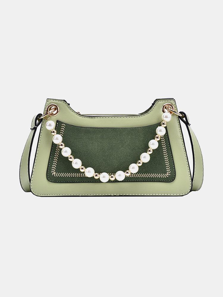 Women Pearl Vintage Patchwork Shoulder Bag Handbag