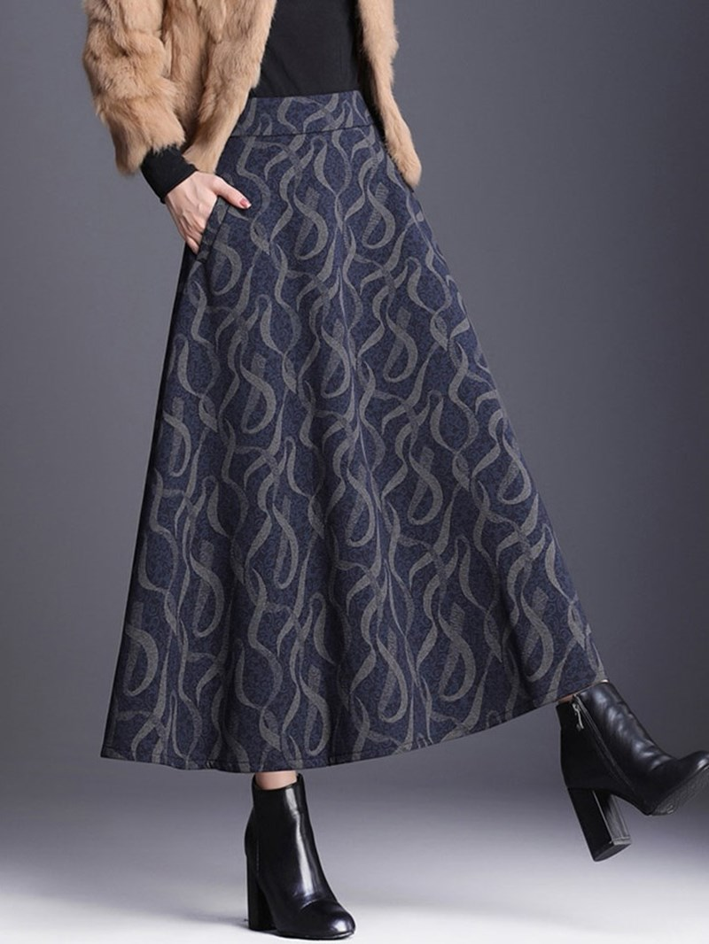 Ericdress Plus Size Color Block Mid-Calf A-Line Casual Skirt