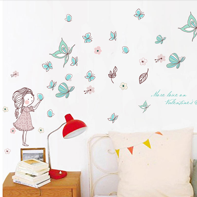 Removable Butterfly and Girl PVC 58