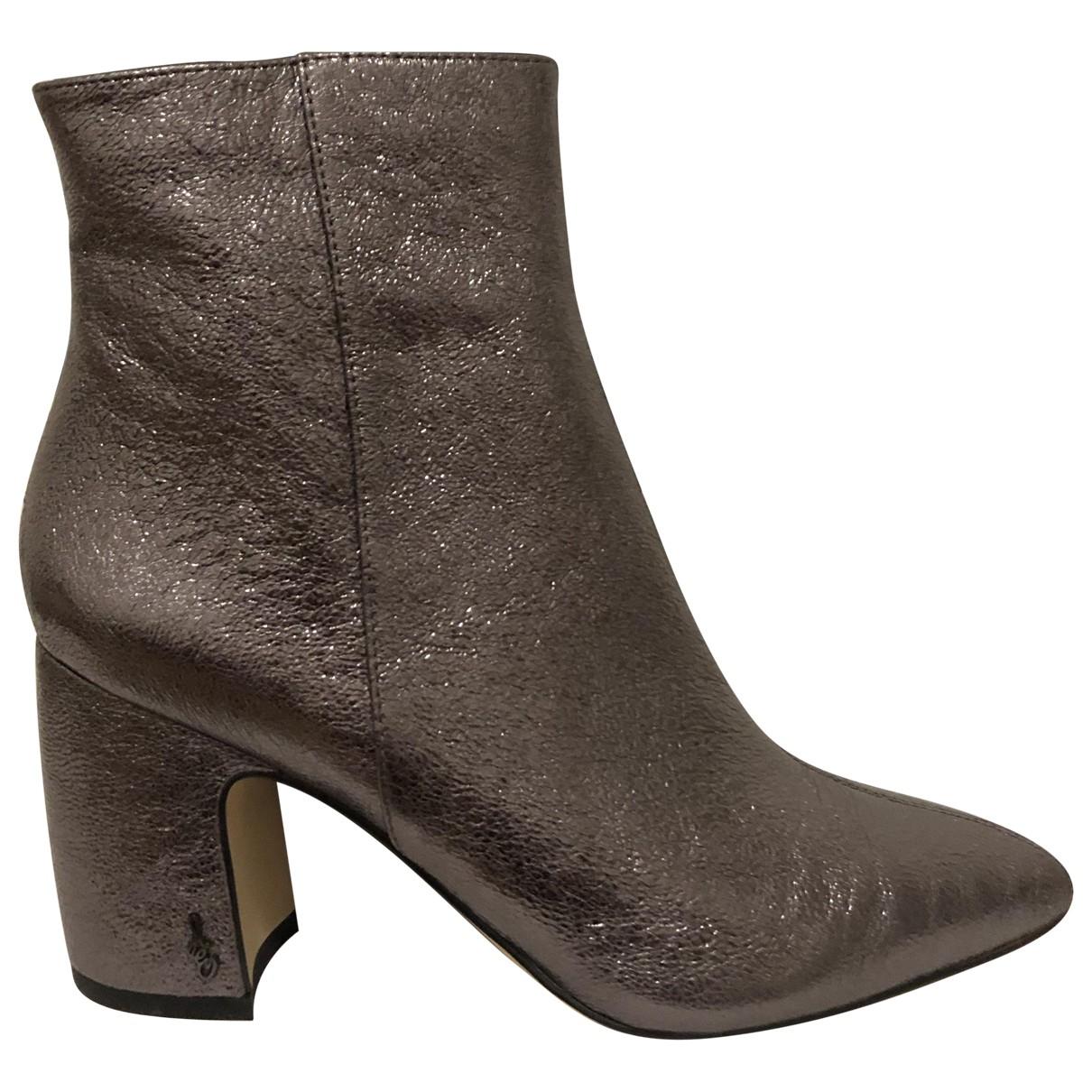 Sam Edelman - Boots   pour femme en cuir - gris